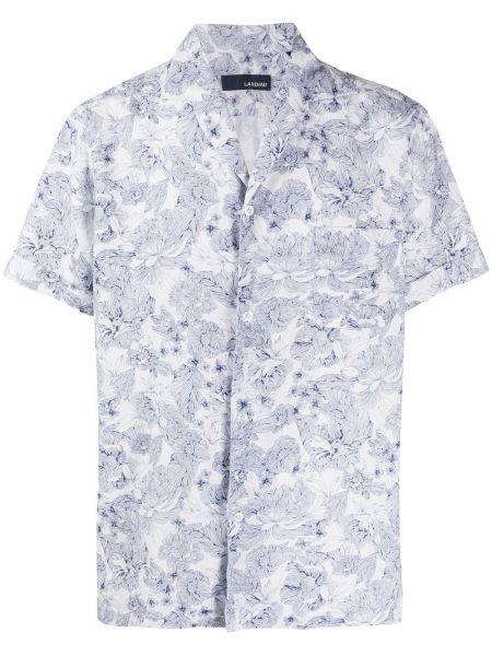 Koszula krótkie z krótkim rękawem z kołnierzem z kwiatowym nadrukiem Lardini