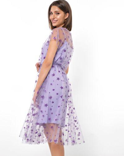 Шифоновое с рукавами вечернее платье с сеткой Jetty