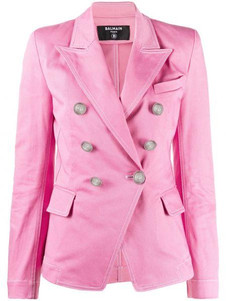 Джинсовая куртка розовая с карманами Balmain