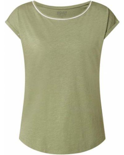 Zielona bluzka bawełniana z paskiem Esprit