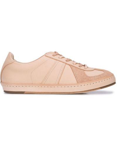 Кожаные кроссовки на шнуровке бежевые Hender Scheme