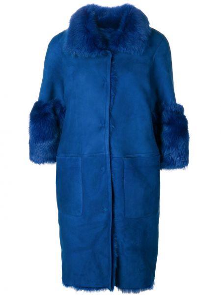 С рукавами синее кожаное пальто из овчины с декоративной отделкой Desa Collection
