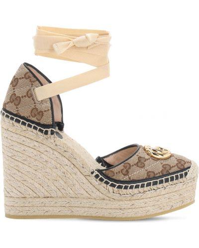 Кожаные эспадрильи на танкетке на шнурках Gucci