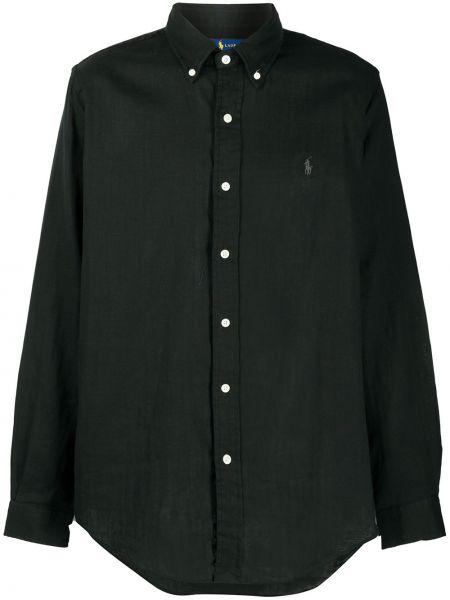 Koszula z długim rękawem klasyczna czarna Ralph Lauren