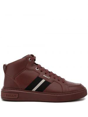 Кожаные высокие кроссовки - красные Bally