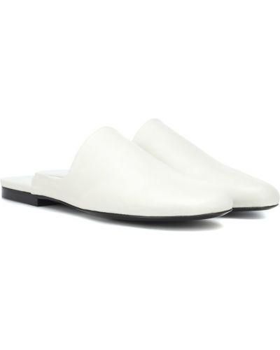 Тапочки кожаные белые The Row