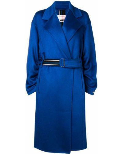 Синее шерстяное пальто с капюшоном Sportmax