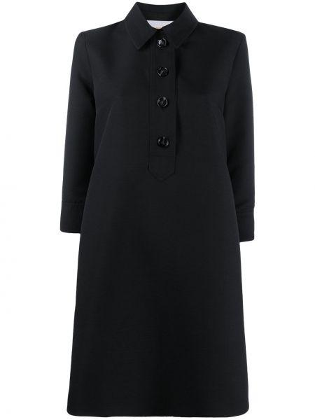 С рукавами шерстяное черное платье на пуговицах La Doublej