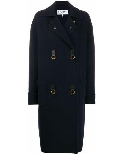 Синее кашемировое пальто классическое двубортное Loewe