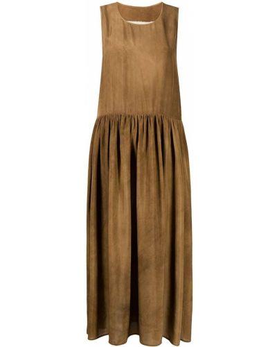 Коричневое платье с круглым вырезом Uma Wang