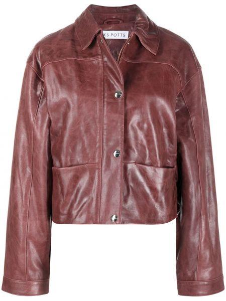 Красная кожаная длинная куртка с вышивкой Saks Potts