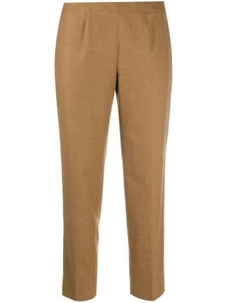 Брючные шерстяные бежевые укороченные брюки Piazza Sempione