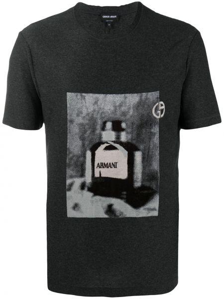Czarny t-shirt bawełniany z printem Giorgio Armani
