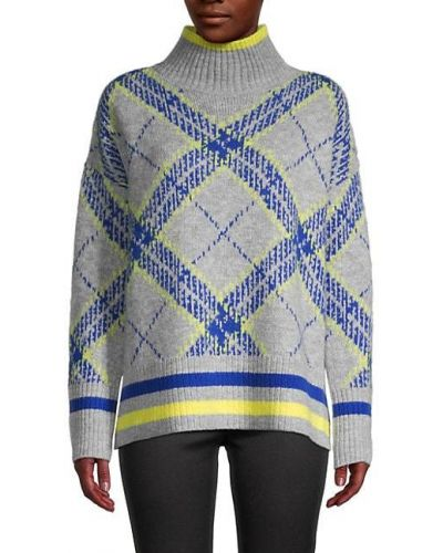 Niebieski długi sweter w paski z akrylu Central Park West