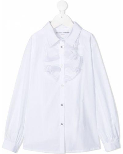 Белая прямая рубашка с воротником с оборками Ermanno Scervino Junior