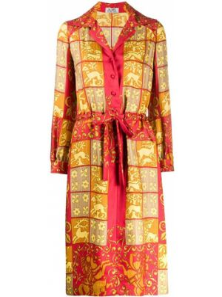 Шелковое платье винтажное на пуговицах с лацканами Hermès