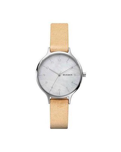 Часы на кожаном ремешке кварцевые швейцарские Skagen