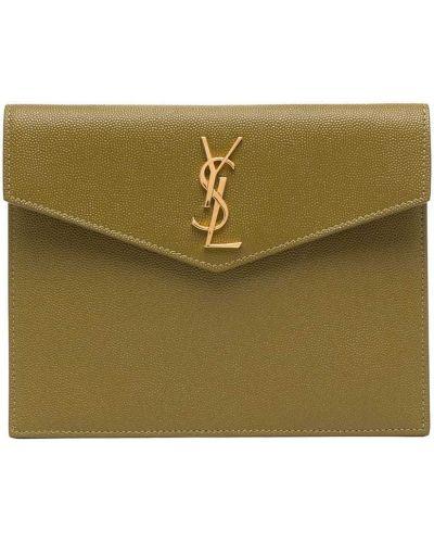 Złota kopertówka - zielona Saint Laurent