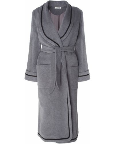 Шерстяное серое пальто с воротником Laroom