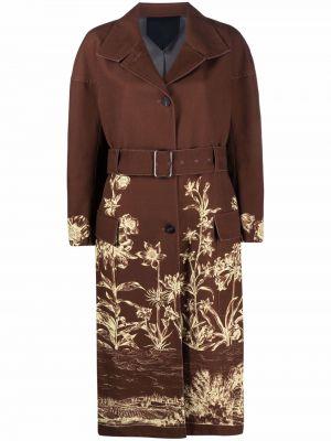 Коричневое длинное пальто с карманами с лацканами Salvatore Ferragamo