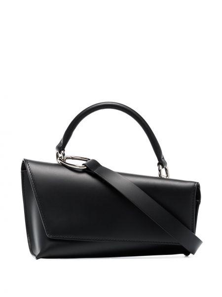 Кожаная черная сумка на плечо Venczel