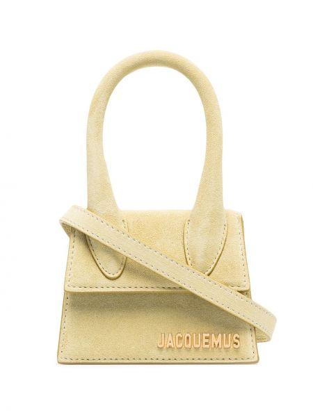 Золотистая кожаная зеленая маленькая сумка Jacquemus