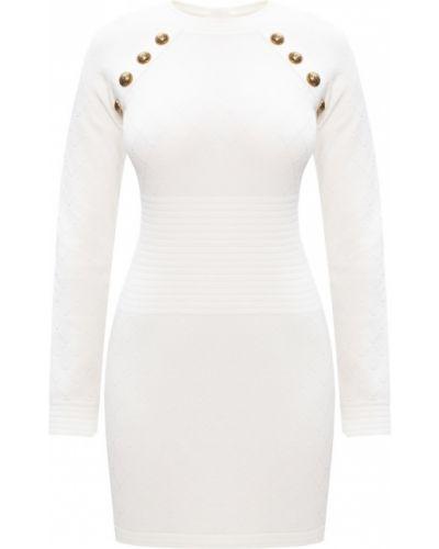 Biała sukienka midi z długimi rękawami z wiskozy Balmain