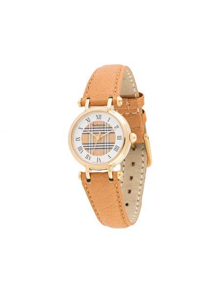 Кожаные золотистые кварцевые часы золотые Burberry Pre-owned