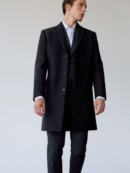 Синее шерстяное пальто классическое с карманами Mango Man