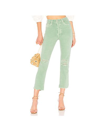 Прямые джинсы рваные с эффектом потертости Mother