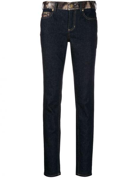 Облегающие синие кожаные брюки Versace Jeans Couture