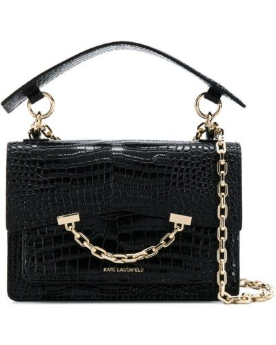 Кожаная сумка с ручками круглая Karl Lagerfeld