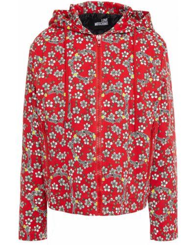 Джинсовая куртка с капюшоном - синяя Love Moschino