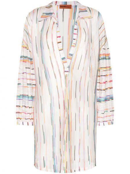 Белое платье мини из вискозы с нашивками Missoni