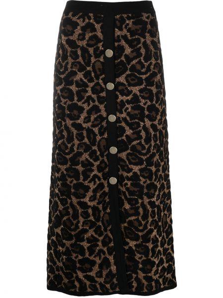 С завышенной талией черная вязаная юбка миди из вискозы Temperley London
