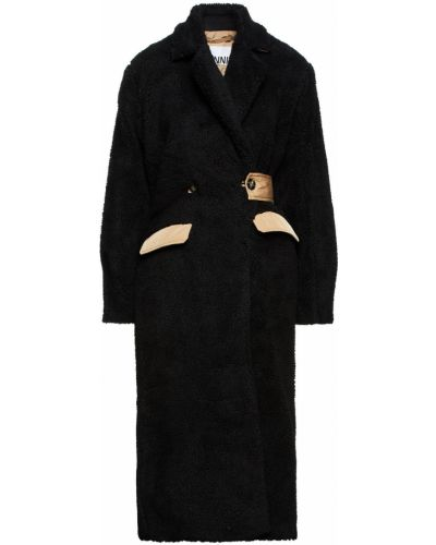 Płaszcz dwurzędowy z paskiem - czarny Ganni