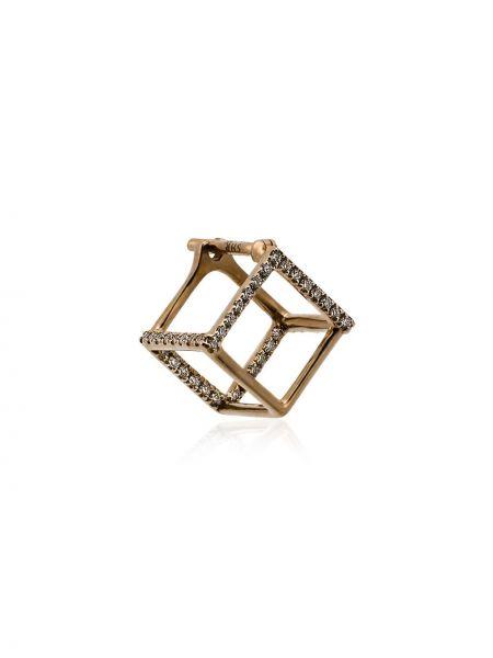 Золотистые желтые серьги-гвоздики квадратные с бриллиантом Shihara