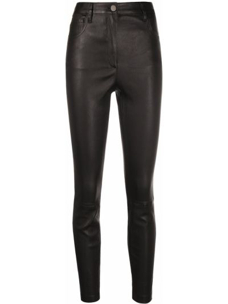 Черные кожаные брюки на молнии Theory