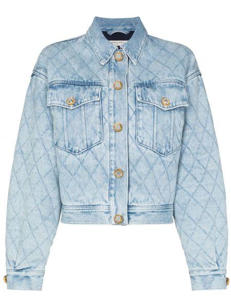 Синяя стеганая джинсовая куртка с воротником Alessandra Rich