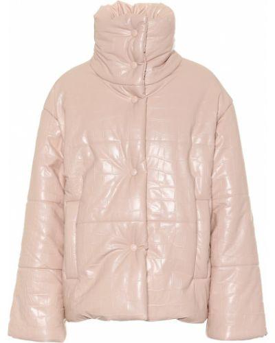 Зимняя куртка кожаная розовая Nanushka