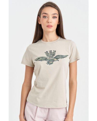 Бежевая футболка однотонная Aeronautica Militare