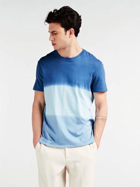 Niebieski t-shirt bawełniany krótki rękaw Guess