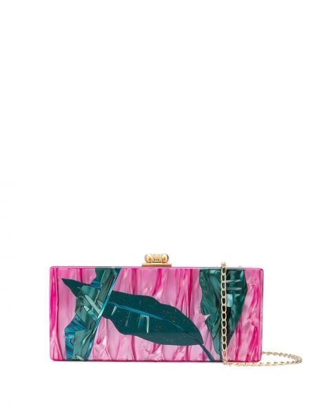 Акриловая с ремешком розовая сумка на плечо Edie Parker