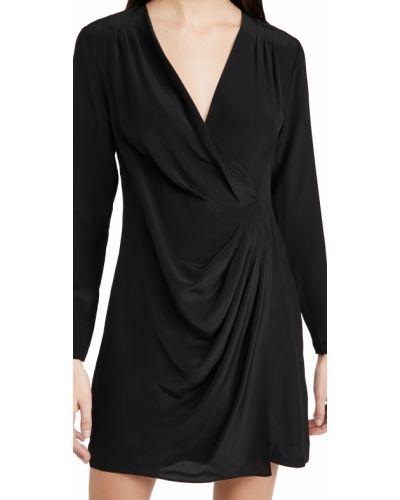 Шелковое черное платье мини с длинными рукавами Club Monaco