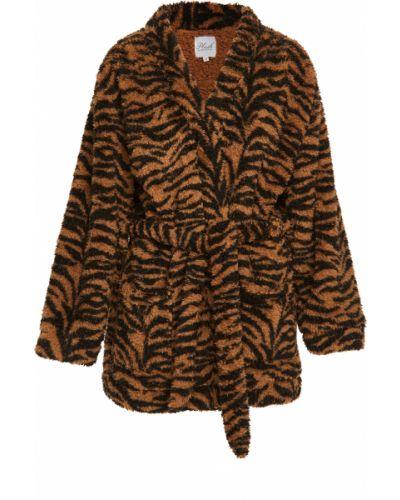 Черный плюшевый халат с поясом Plush