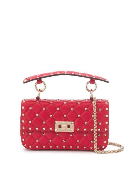 Стеганая красная кожаная сумка на плечо Valentino