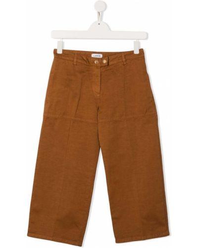 Bezpłatne cięcie brązowy spodnie culotte bezpłatne cięcie z paskiem Lanvin Enfant