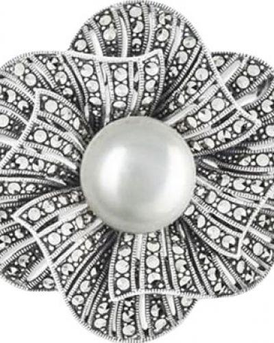 Серебряная брошь с камнями с жемчугом марказит