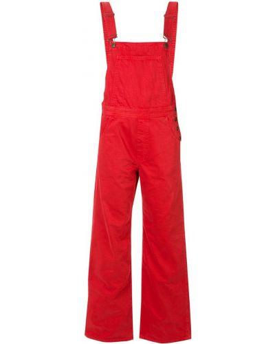 Красный джинсовый комбинезон на бретелях на пуговицах Mih Jeans