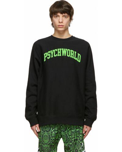 Czarna bluza długa z długimi rękawami bawełniana Psychworld